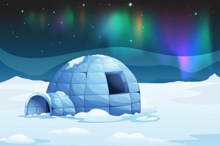 Illustration of the aurora borealis over an igloo