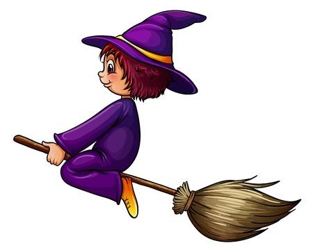 Illustration pour Illustration of a flying wizard - image libre de droit