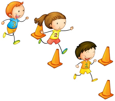 illustration of a running kids on a white backgroundのイラスト素材