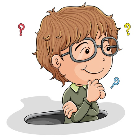 Illustration pour illustration of a young boy thinking on a white background - image libre de droit