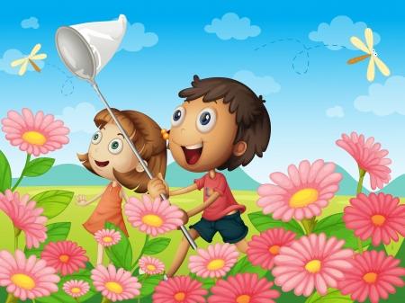 illustration of kids catching flies in a garden