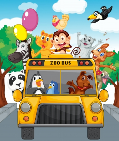 Illustration pour Illustration of school bus filled with animals - image libre de droit