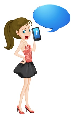 illustration of a girl with cell phone on a white