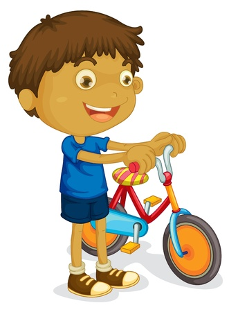 illustration of a boy playing bicycle on a white background