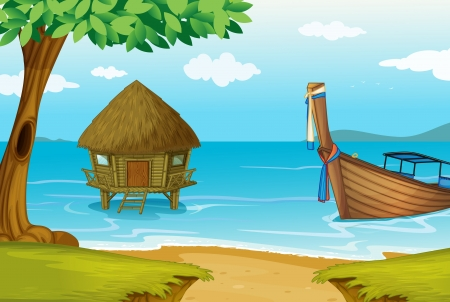 Illustration pour illustration of a house on water on a white background - image libre de droit