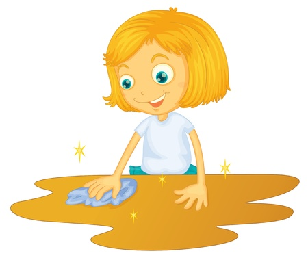 illustration of a girl cleaning floor on a white background