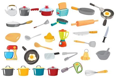 Illustration pour illustration of various utensils on a white  - image libre de droit