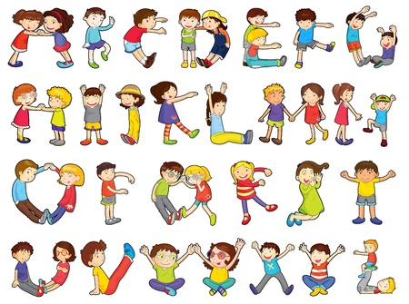 illustration of alphabets in kids activities on a white background