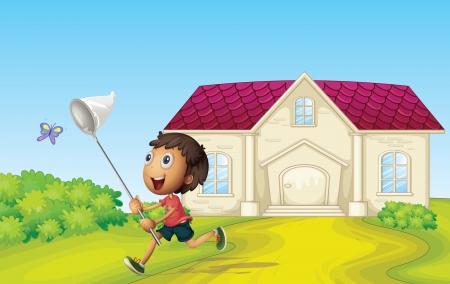 illustrtion of a boy catching butterflies infront of house