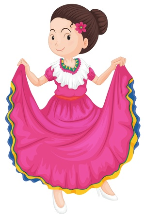 illustration of a girl dancing traditional dress