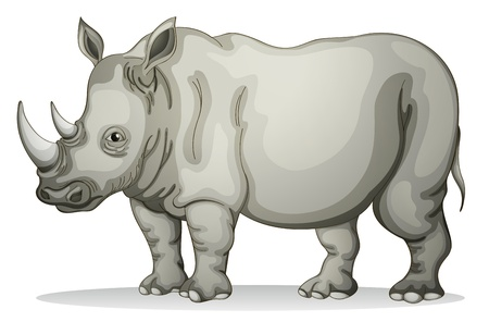 Ilustración de illustration of a Rhinoceros on a white background - Imagen libre de derechos