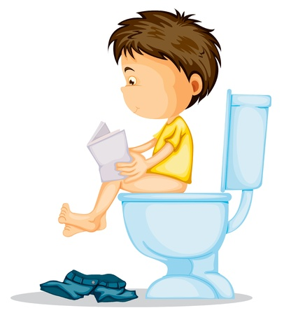 illustration of a boy sitting on commode on a white