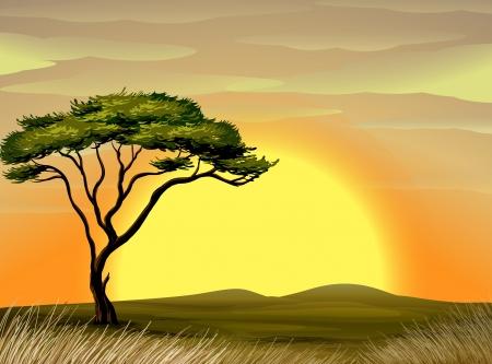 Illustration pour illustration of a beautiful landscape and tree - image libre de droit