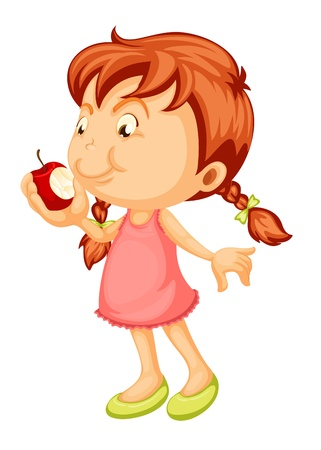 Ilustración de illustration of a girl biting apple on a white background - Imagen libre de derechos