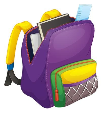 Illustration pour illustration of a school bag on a white - image libre de droit