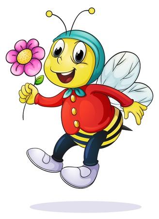 Foto de illustration of honey bee on a white background - Imagen libre de derechos