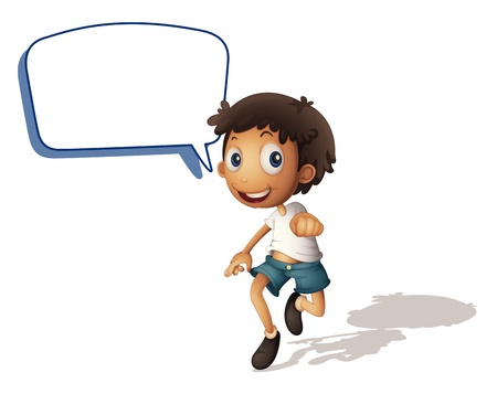 Illustration for illustration of a boy and call out on a white background - Royalty Free Image