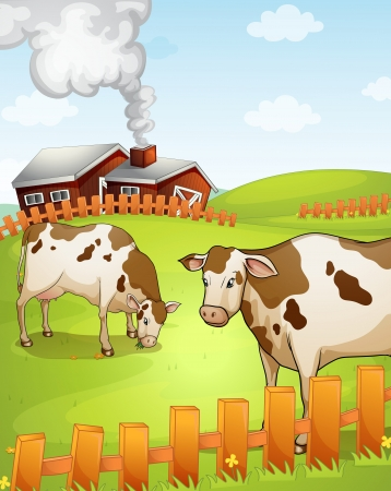 illustration of two cows in the nature
