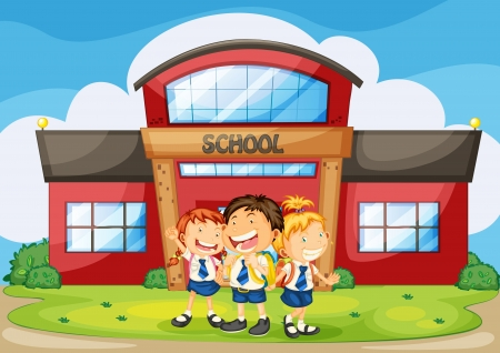illustration of kids infront of school building