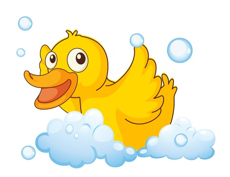 illustration of a yellow bird in the foam