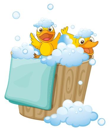 illustration of ducklings in a bucket full of foam