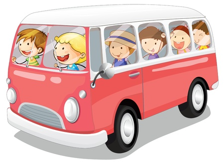 Illustration for illustration of kids in a bus on white background - Royalty Free Image