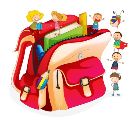 Illustration of tiny students and a schoolbag