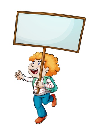 Illustration of a boy and a sign