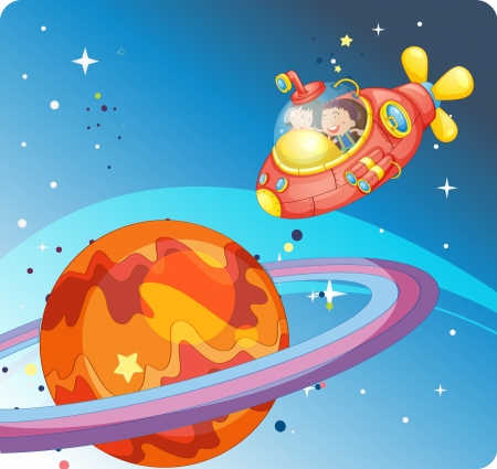 illustration of a kids in a spaceship in the sky