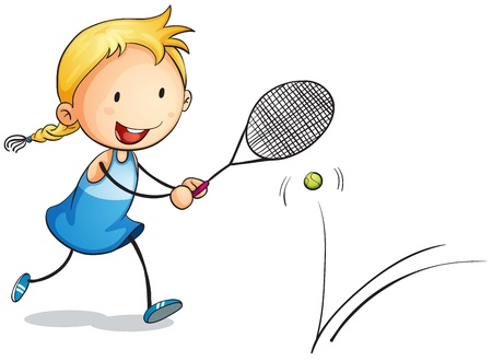 illustration of a girl playing tennis on a white