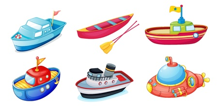 illustration of various ships on a white background