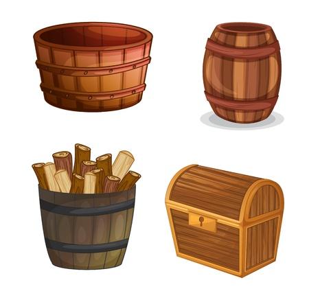 Illustration pour illustration of various wooden objects on a white background - image libre de droit
