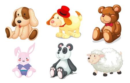 Ilustración de illustration of various toys on a white background - Imagen libre de derechos