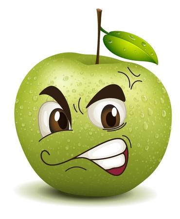 illustration envy apple smiley on a white