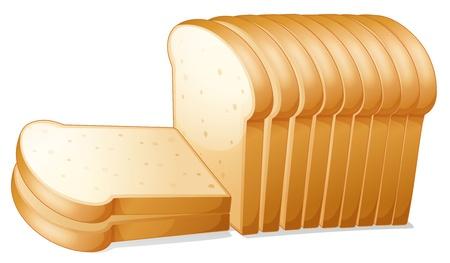 Illustration pour illustration of a bread slices on a white background - image libre de droit