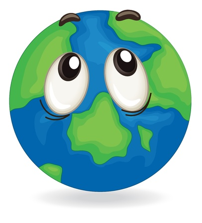illustration of a earth globe face on white
