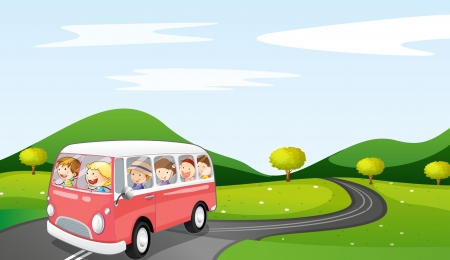Illustration for illustration of a bus and road in a beautiful nature - Royalty Free Image