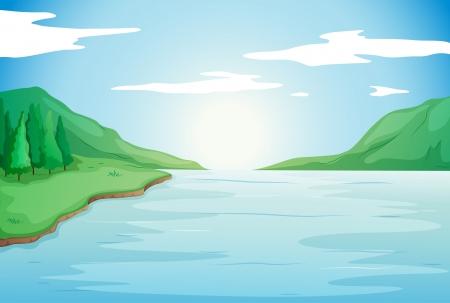 Illustration pour illustration of river in a beautiful nature - image libre de droit