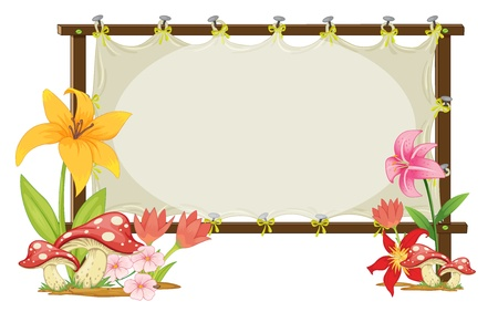 illustration of board and flowers board on a white