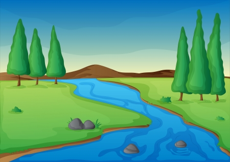 Illustration for illustration of a river in a beautiful nature - Royalty Free Image