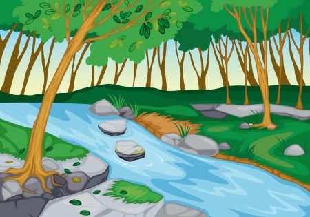 Illustration for illustration of river flowing in beautiful nature - Royalty Free Image