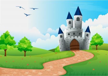 Foto de illustration of a beautiful house in nature - Imagen libre de derechos