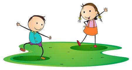 illustration of kids on a white background