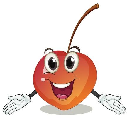 Illustration pour illustration of a cherry on a white background - image libre de droit