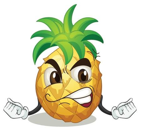 Illustration pour illustration of a pineapple on a white background - image libre de droit