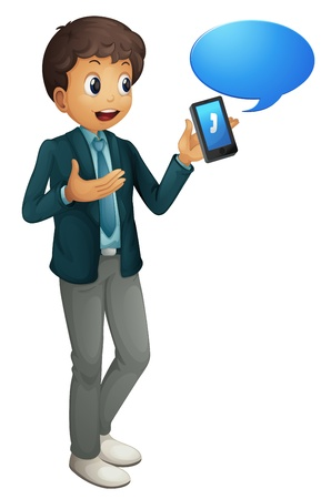 illustration of a boy and a cell phone on a white background