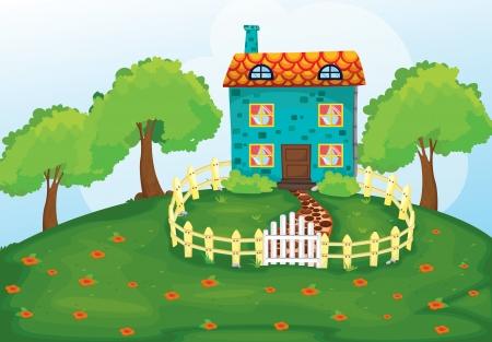 Foto de illustration of a house in a beautiful nature - Imagen libre de derechos