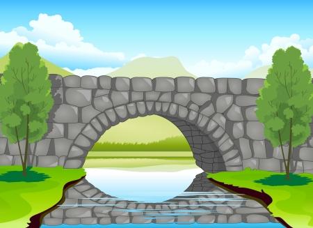 illustration of a beautiful bridge madeup of stones