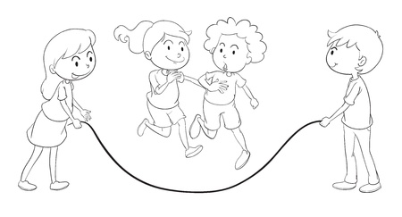 detailed illustration of kids playing on a white background