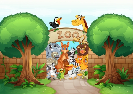 illustration of a zoo and animals in a beautiful nature